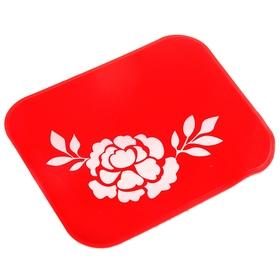 Коврик противоскользящий 10х11см, Роза, красный, блистер