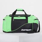 Сумка дорожная, отдел на молнии, 3 наружных кармана, длинный ремень, цвет чёрный/зелёный
