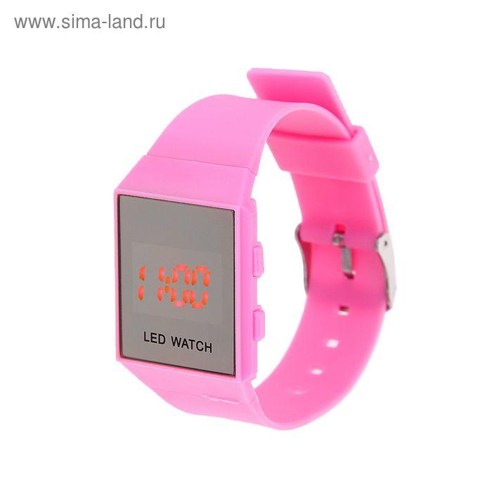 Часы наручные Led влагозащищенные на силиконовом ремешке, цвет розовый