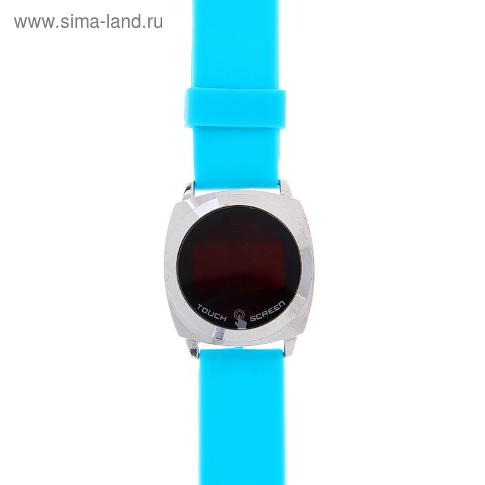 Часы наручные Led влагозащищенные на силиконовом ремешке, цвет голубой