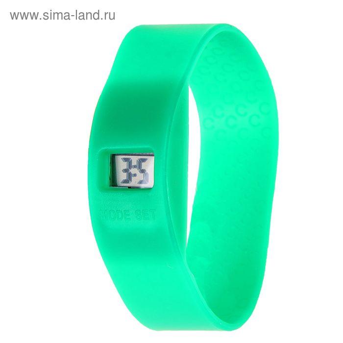Часы наручные женские электронные на силиконовом ремешке, цвет зеленый