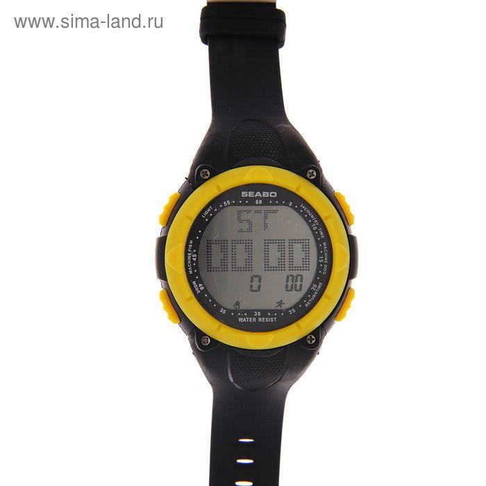 Часы наручные мужские электронные с будильником на силиконовом ремешке, цвет черный с желтым