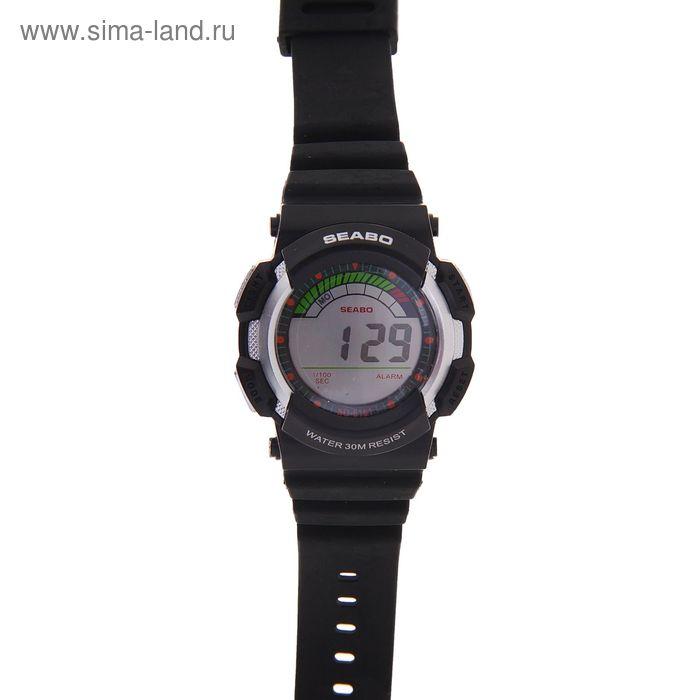 Часы наручные мужские электронные функциональные на силиконовом ремешке, черные с круглым циферблатом