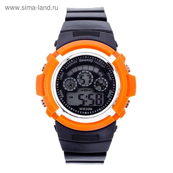 Часы наручные мужские электронные функциональные, черные с круглым циферблатом