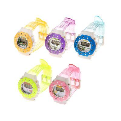 Часы наручные электронные «Цветы», детские, с силиконовым ремешком, декор стразы, микс