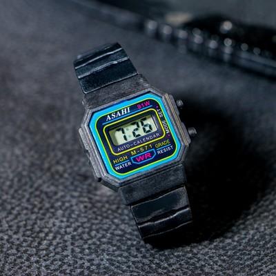 Часы наручные детские, электронные, на силиконовом ремешке, циферблат прямоугольный