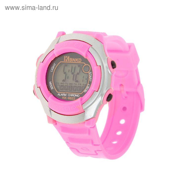 Часы наручные женские электронные с подсветкой, цвет розовый
