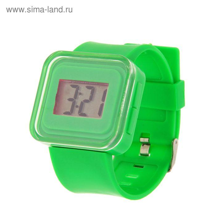 Часы наручные женские электронные влагозащищенные, квадратный циферблат, цвет зеленый