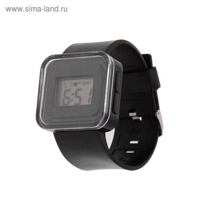 Часы наручные женские электронные влагозащищенные, квадратный циферблат, цвет черный