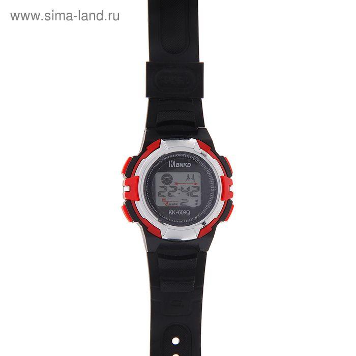 Часы наручные мужские электронные функциональные на силиконовом ремешке, цвет черный с красными вставками