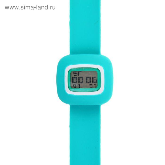 Часы наручные жен.электронные, с силик/браслетом, циферблат прямоугольный большой с белым