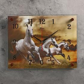 """Часы настенные прямоугольные """"Белые лошади"""", 40х30 см"""