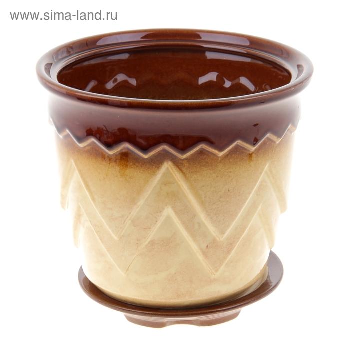 "Кашпо ""Арго"" бежево-коричневое 2,8 л"