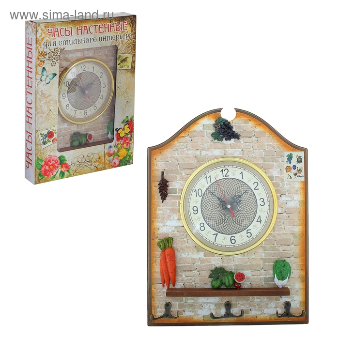 """Часы настенные """"Кухонное панно"""", с крючками, 27х35 см"""