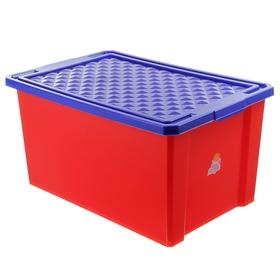 """Ящик для игрушек 57 л """"Лего"""" на колесах с крышкой, цвет красный"""