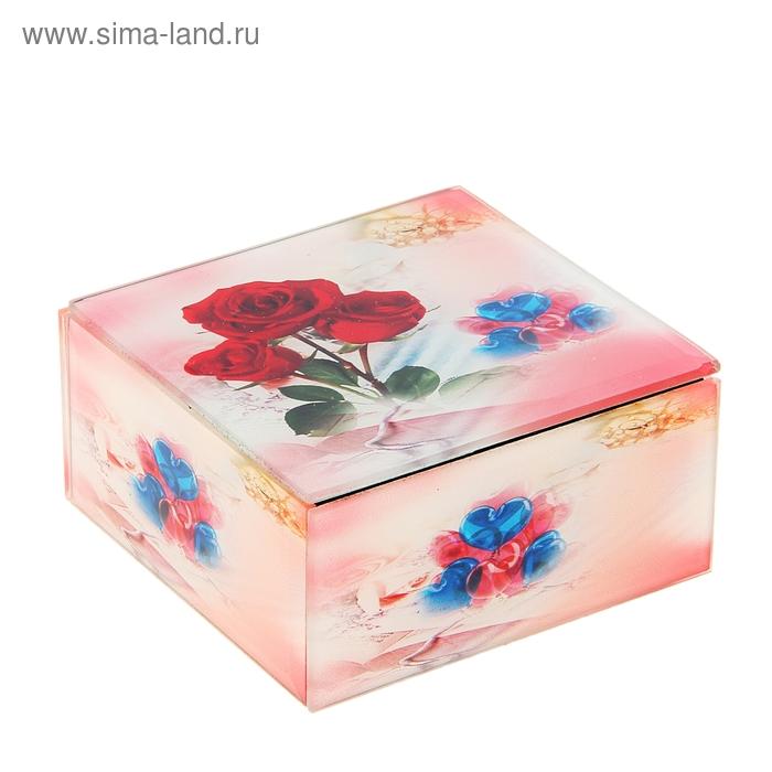 """Шкатулка зеркальная """"Розы с воздушными шарами"""""""