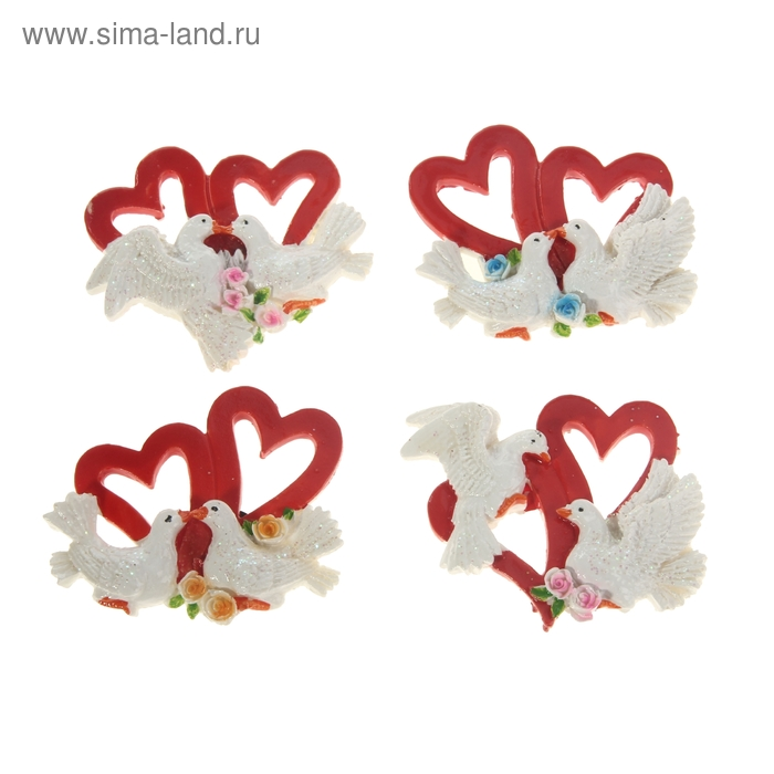 """Магнит """"Две голубки у двух сердец"""", МИКС"""