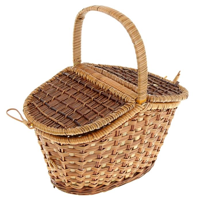Корзина «Пикник», с двухстворчатой крышкой, 30х19 см, H=18/14 см, бамбук