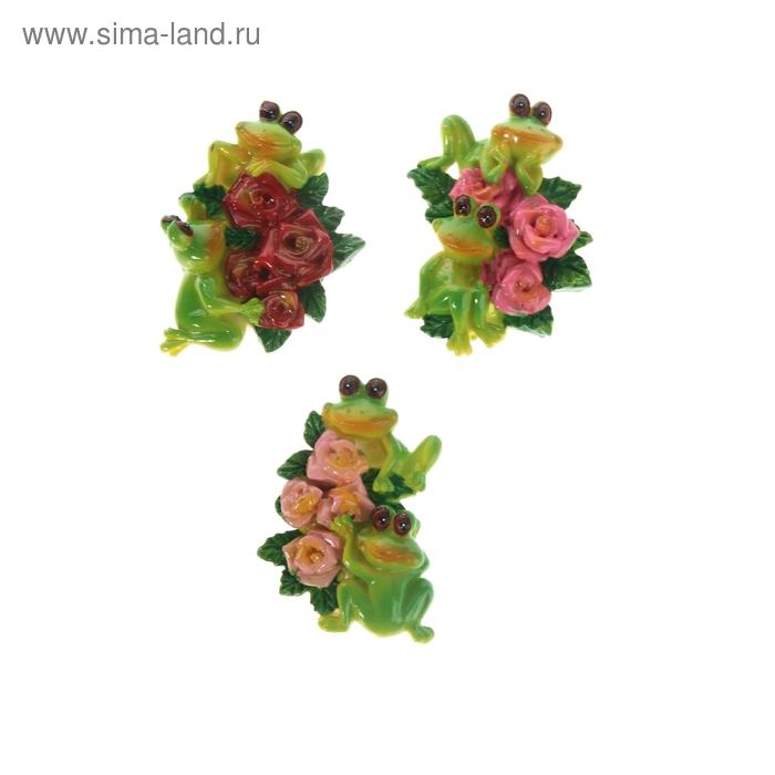 """Магнит """"Две лягушки с цветами"""", МИКС"""