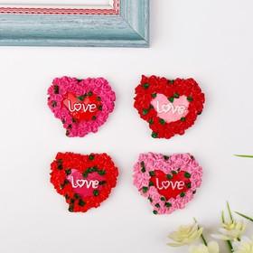 Магнит 'Сердце из роз. Love', МИКС Ош