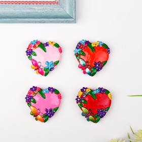 Магнит 'Сердце в цветах с бабочкой' МИКС Ош