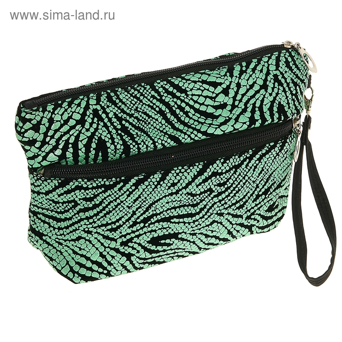 """Косметичка-сумочка """"Зебра"""", 1 отдел на молнии, наружный карман, ручка, цвет зелёный"""