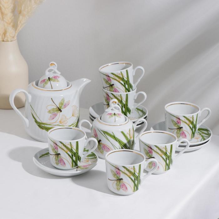 Сервиз чайный «Стрекоза», 14 предметов: чайник 1 л, сахарница 400 мл, 6 чашек 220 мл, 6 блюдец d=14 см - фото 878112