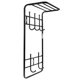 Вешалка настенная с полкой на 5 крючков, 41×25×74,5 см, цвет чёрный