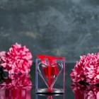 """Свеча гелевая на подставке """"Сердце"""", цвет красный"""