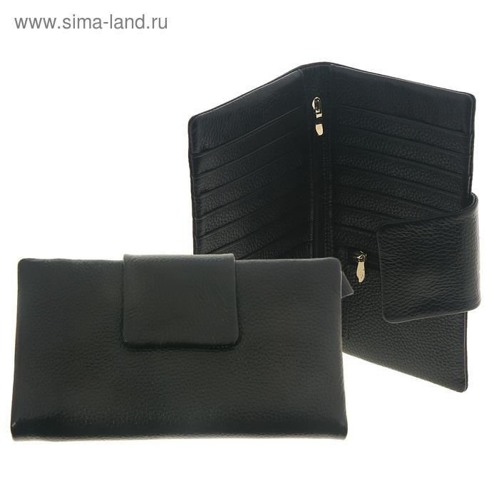 """Кошелёк женский """"Мериам"""", 4 отдела, отдел для кредиток, наружный карман, цвет чёрный"""