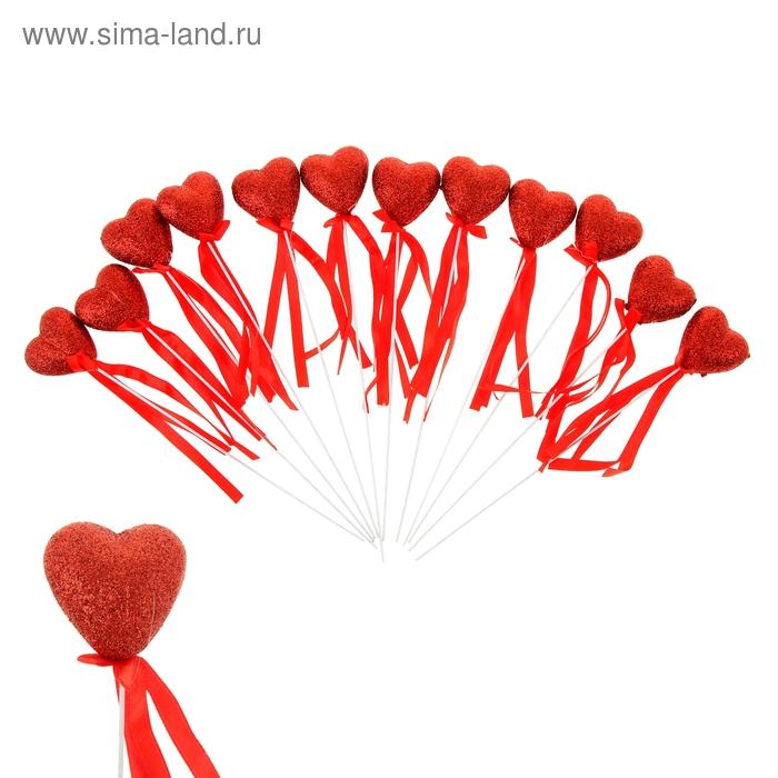 """Сердце на палочке с блёстками (набор 12 шт) """"Симфония чувств"""", цвет красный"""