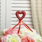 """Сердце на палочке """"Феерия чувств"""" (набор 6 шт), цвет красный"""