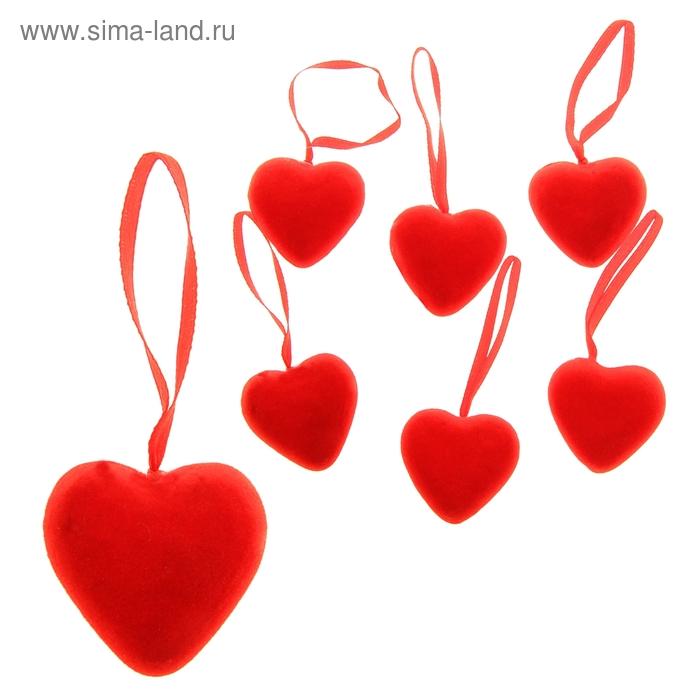 Сердце на подвеске бархатное (набор 24 шт), цвет красный