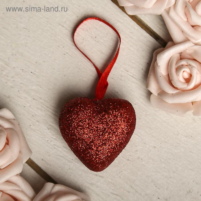 Сердце на подвеске с блёстками (набор 24 шт), цвет красный
