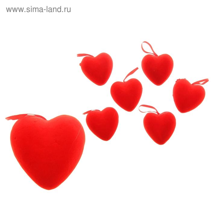 Сердце на подвеске бархатное (набор 6 шт), цвет красный