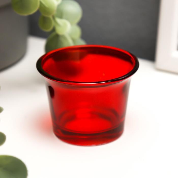 """Подсвечник стекло на 1 свечу """"Глянец"""", красный 4,7х6,2х6,2 см"""