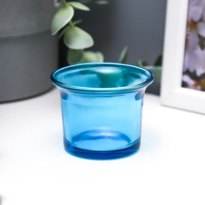 Подсвечник стекло 4,7 x 6,2 x 6,2 см ''Глянец'', голубой 847221