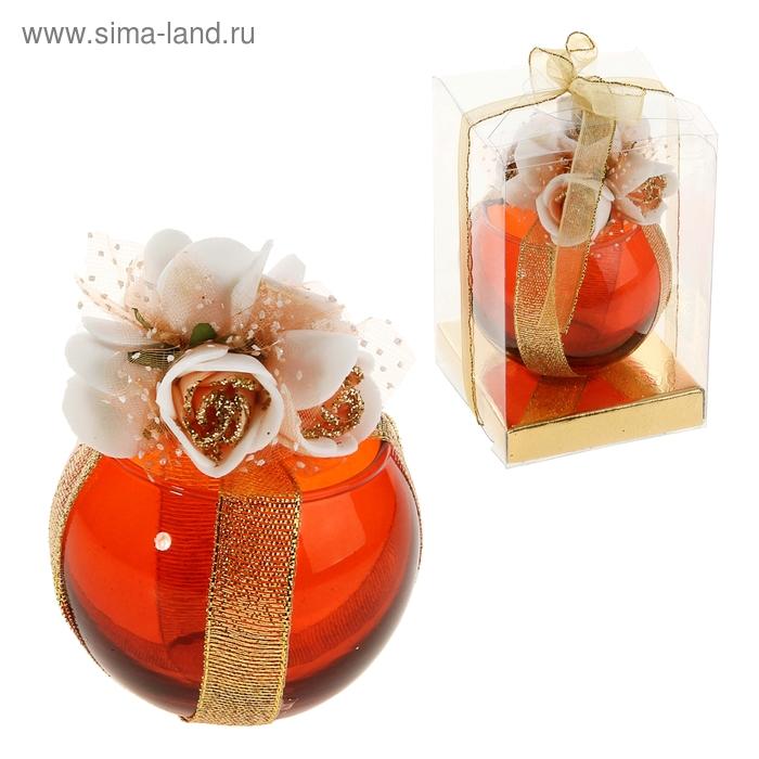 """Подсвечник """"Глянец"""" с декором, цвет оранжевый"""