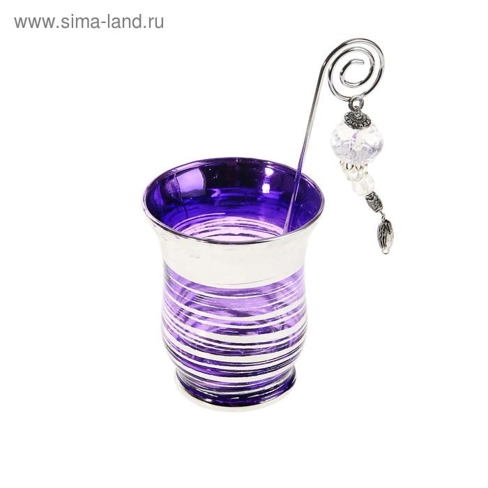 """Подсвечник с держателем для свечи """"Полосочка"""", цвет сиреневый"""