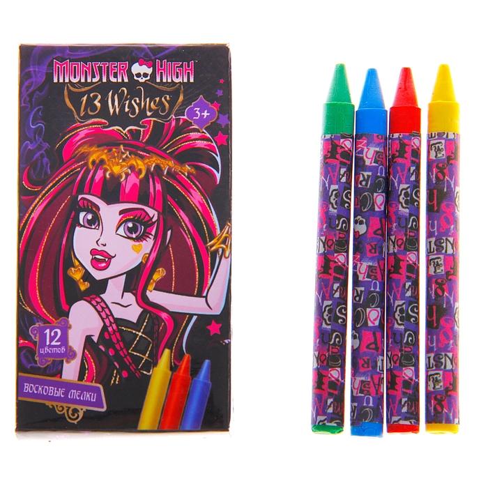 Мелки восковые 12 цветов Mattel Мonster High 8506