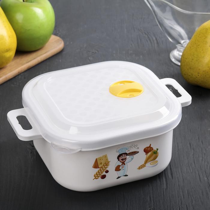 """Контейнер для холодильника и СВЧ с крышкой 1,2 л """"Настроение"""", прямоугольный, цвета МИКС"""