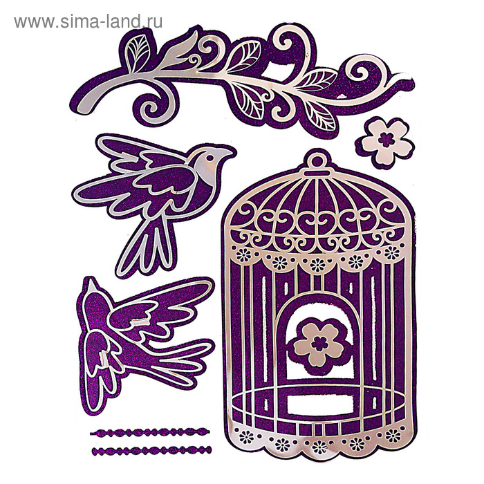 """Наклейка зеркальная """"Клетка с птицами"""" с блёстками"""
