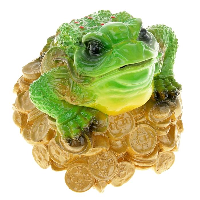 """Копилка """"Денежная жаба"""" с чёрными глазами, зелёная"""