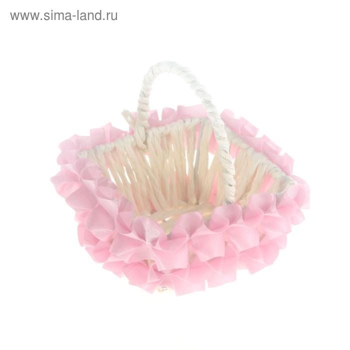 Корзинка декоративная, розовая, с рюшами