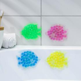 Мини-коврик для ванны «Рыбка», 11×12 см, цвет МИКС Ош