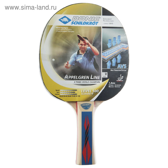 Ракетка для настольного тенниса Donic Appelgren 500, коническая ручка