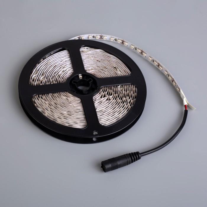 Светодиодная лента 12В, SMD3528, 5 м, IP33, 120 LED, 9.6 Вт/м, 6-7 Лм/1 LED, DC, СИНИЙ