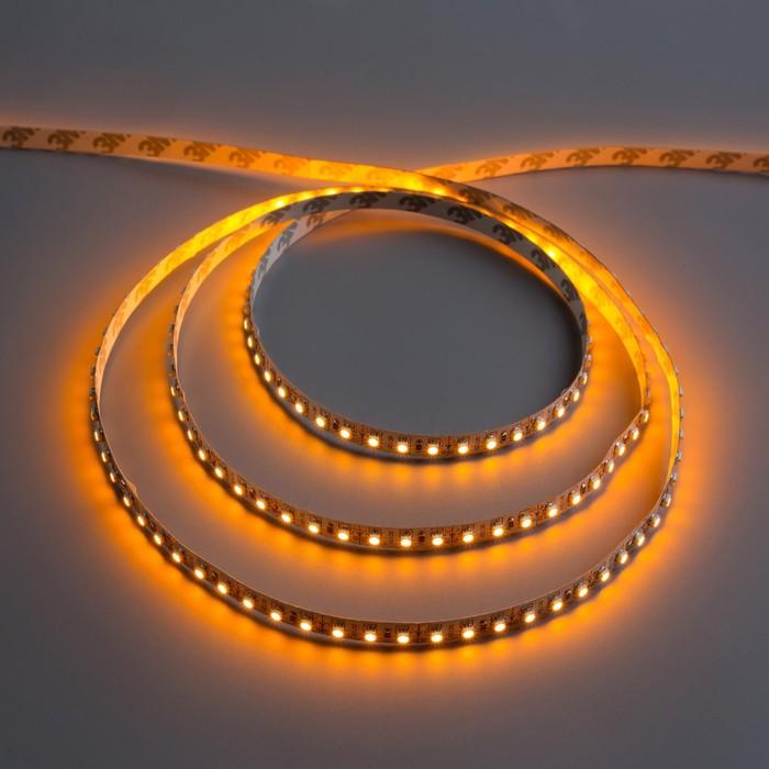 Светодиодная лента 12В, SMD3528, 5 м, IP33, 120 LED, 9.6 Вт/м, 6-7 Лм/1 LED, DC, ЖЁЛТЫЙ