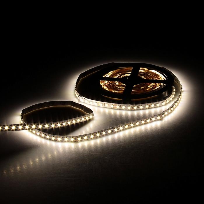 Светодиодная лента 12В, SMD3528, 5 м, IP33, 120 LED, 9.6 Вт/м, 6-7 Лм/1 LED, DC, ТЁПЛЫЙ БЕЛЫЙ