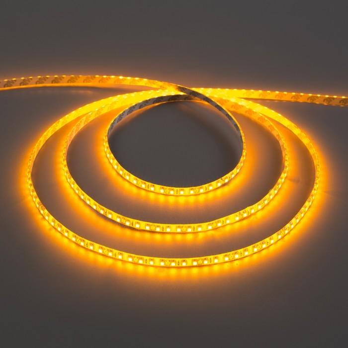 Светодиодная лента 12В, SMD3528, 5 м, IP65, 120 LED, 9.6 Вт/м, 6-7 Лм/1 LED, DC, ЖЁЛТЫЙ